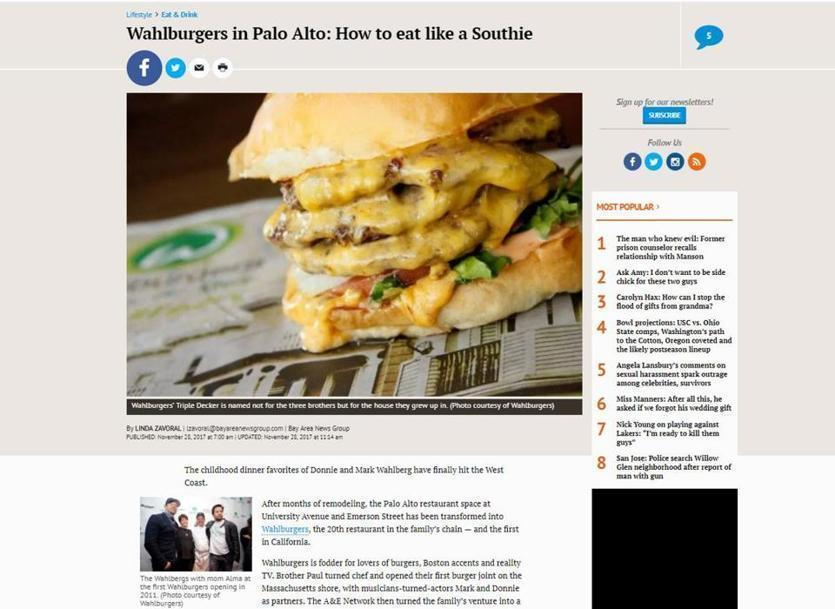 A screenshot of the Mercury News article on Palo Alto's new Wahlburgers.