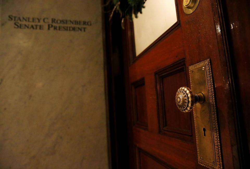The doors to Senate President Stan Rosenberg are closed inside the State House.  Several Democratic senators say it's unlikely that Stan Rosenberg will return to his leadership post.