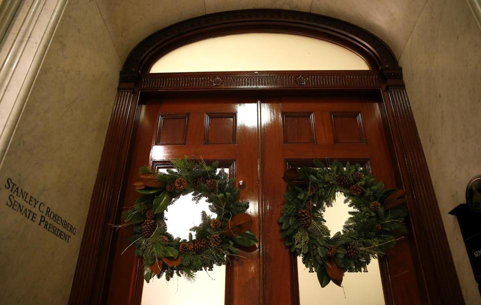 The doors to then-Senate President Stan Rosenberg's office in the State House were closed on Nov. 30.