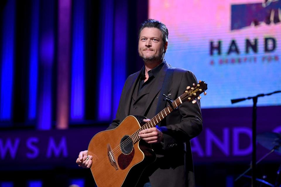 NASHVILLE, TN - SEPTEMBER 12: In this handout photo provided by Hand in Hand, Blake Shelton performs onstage during Hand in Hand: A Benefit for Hurricane Relief at the Grand Ole Opry House on September 12, 2017 in Nashville, Tennessee. (Photo by John Shearer/Hand in Hand/Getty Images)