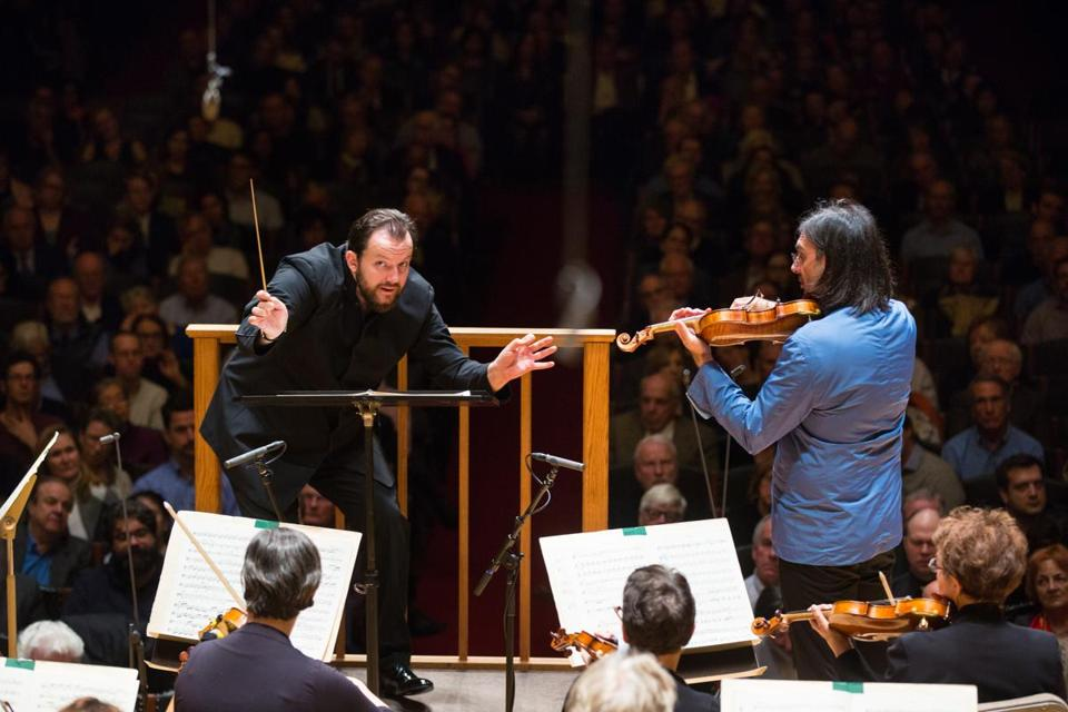 Violinist Leonidas Kavakos performs with the BSO, under the direction of Andris Nelsons, at Symphony Hall.