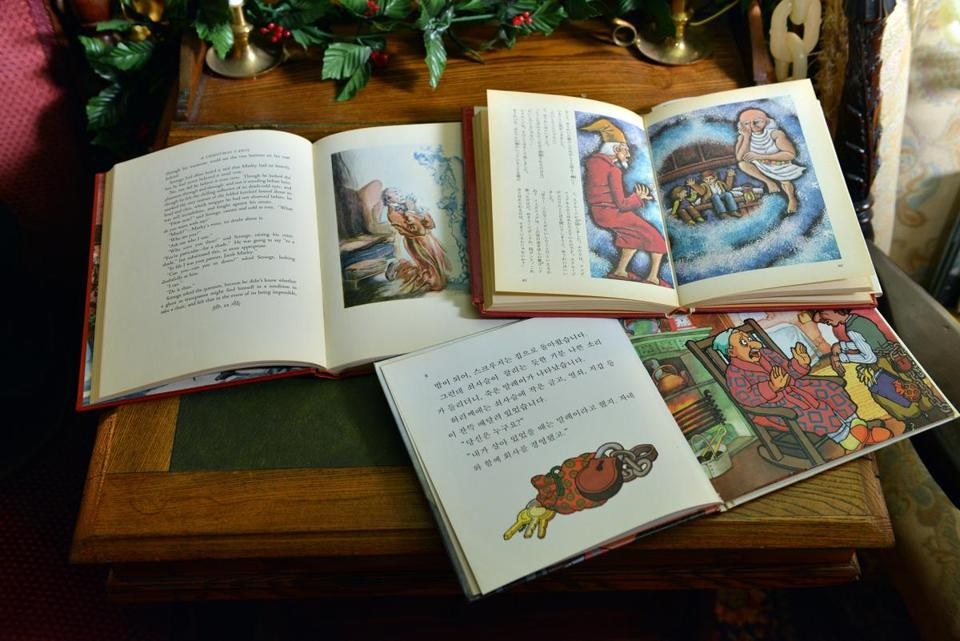 "Some of the 1,000 editions of ""A Christmas Carol"" amassed by Timothy Kenny of Lancaster."