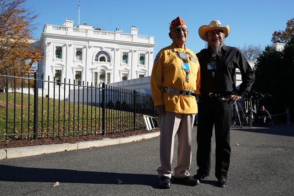 Navajo Code Talker Thomas Begay (left) and retired Army colonel Ronald Begay in Washington Monday.
