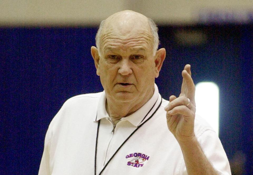 Georgia State head coach Charles 'Lefty' Driesell talks to his team at practice in Atlanta Tuesday, March 13, 2001. The end might have come when Driesell was forced out in disgrace at Maryland. or it might have come when he was unceremoniously dumped by James Madsion. But the 68-year-old Driesell is still alive and kicking, ready to take Georgia State to the NCAA tournament. (AP Photo/Ric Feld)