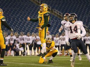 Foxborough-12/1/17- Division 2 superbowl- Lincoln-Sudbury vs King Philip- King Philip's kicker Cole Baker watches his game winniing field goal in the 4th qtr. John Tlumacki/Globe Staff(sports)