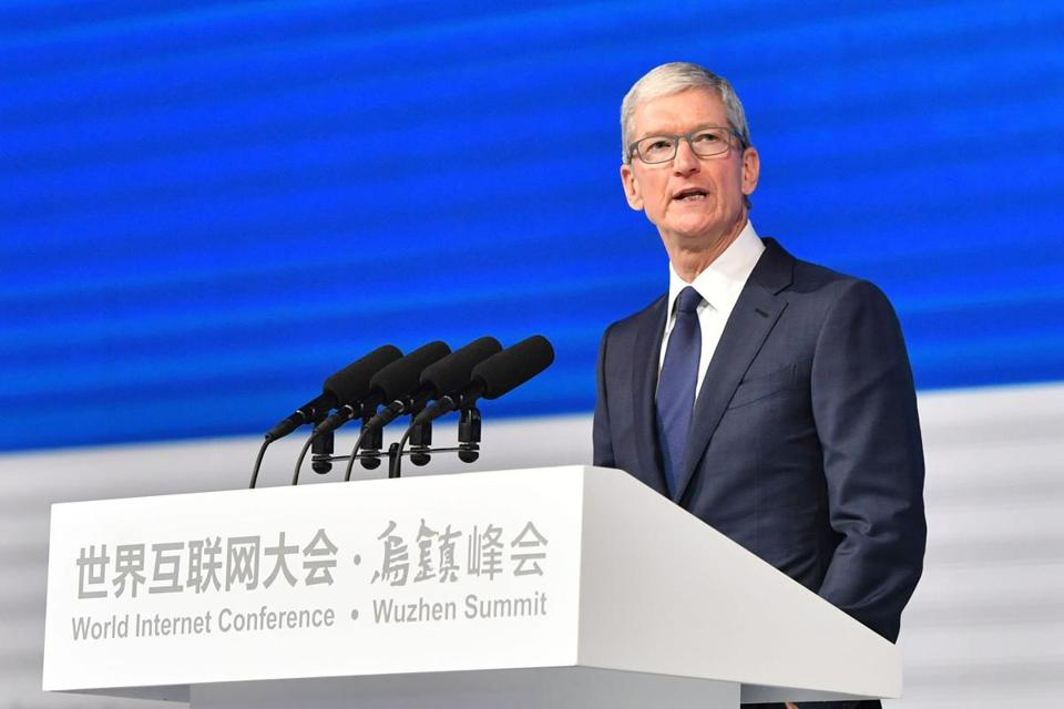 Apple chief executive Tim Cook spoke Sunday during the opening ceremony of the World Internet Conference in Wuzhen, China.