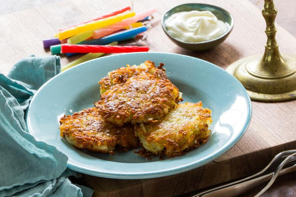 Golden, crisp, and creamy latkes.
