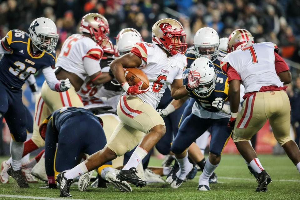 12/02/2017 FOXBOROUGH, MA Crimson Tide's Kevin Brown (cq) 6, runs for a touchdown during a game between Everett and Xaverian at the MIAA State Football Championships held at Gillette Stadium in Foxborough. (Aram Boghosian for The Boston Globe)