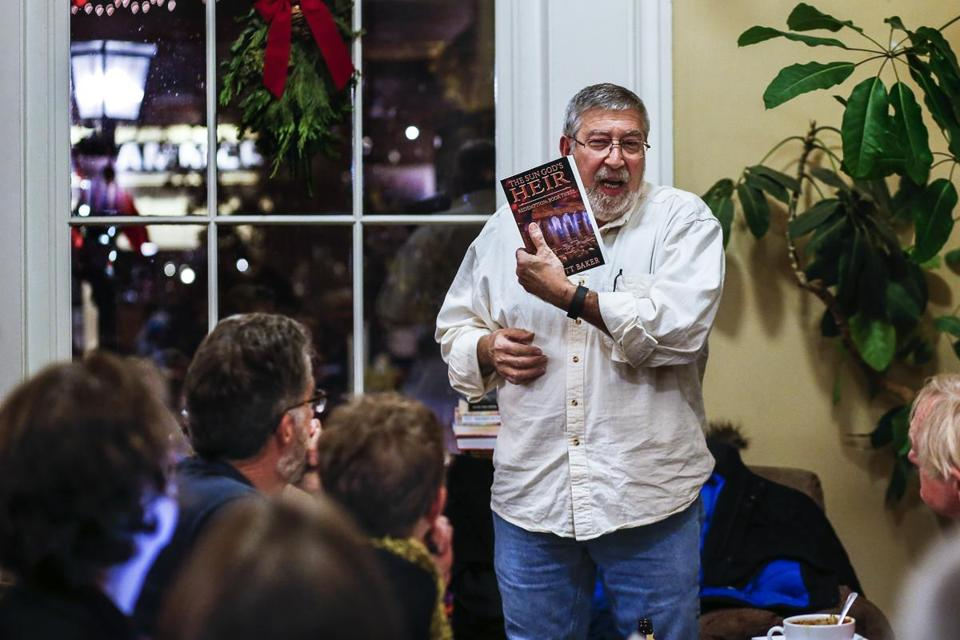 "Author Elliott Baker of Durham talks about his book at the Book and Bar ""Writers Night Out'' event in Portsmouth, NH."