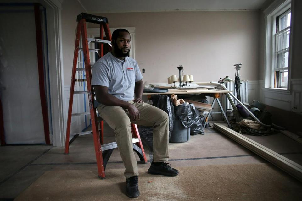 Cambridge, MA - 12/05/17 - Local homeowners helped their contractor, Nortoh Alexander, rebuild his mother's house in Dominica, which was destroyed by Hurricane Maria. Alexander is project manager for Cambridge-based Charlie Allen Renovations and grew up on the island. He needed financial help to travel to Dominica and to begin rebuilding his mother's house. Charlie Allen Renovations launched a GoFundMe campaign on the contractor's behalf, which quickly exceeded its goal of $10,000. Almost all of the money was contributed by area homeowners whose homes Nortoh has remodeled. (Lane Turner/Globe Staff) Reporter: (Cristela Guerra) Topic: (06maria)