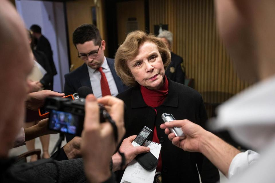 12/04/2017 BOSTON, MA Harriette Chandler (cq) speaks to the media after being elected Senate President at the State House. (Aram Boghosian for The Boston Globe)