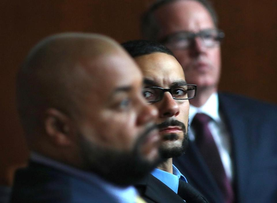 Defendants Derek Howard, John Raposo, and George Billadeau watched a video of their actions.