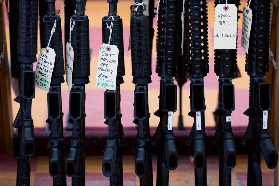(FILES) This file photo taken on November 5, 2016 shows rifles for sale at a gun shop in Merrimack, New Hampshire. Support for background checks for gun purchases and a ban on sales of assault weapons have reached new highs among US voters following a series of mass shootings, according to a poll published on November 15, 2017. Ninety-five percent of the 1,577 people surveyed in the Quinnipiac University poll said they support requiring background checks for all gun buyers.Only four percent said they were opposed. / AFP PHOTO / DOMINICK REUTERDOMINICK REUTER/AFP/Getty Images