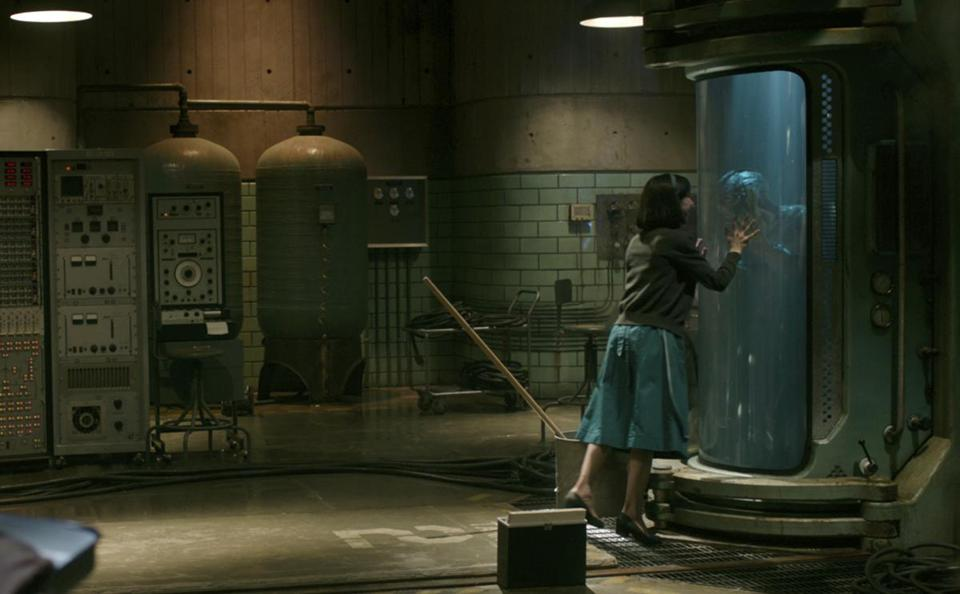 "Sally Hawkins with Doug Jones in ""The Shape of Water."""