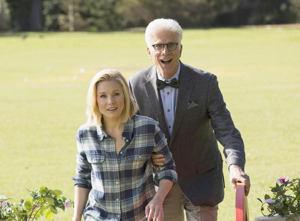 """The Good Place,"" with Kristen Bell and Ted Danson, airs its fall finale Thursday on NBC."