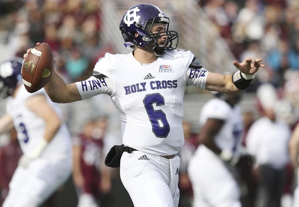 Holy Cross' Peter Pujals #6 in action against Fordham during an NCAA college football game, Saturday, Nov. 4, 2017, in Bronx, N.Y. Holy Cross won 42-20. (AP Photo/Steve Luciano)