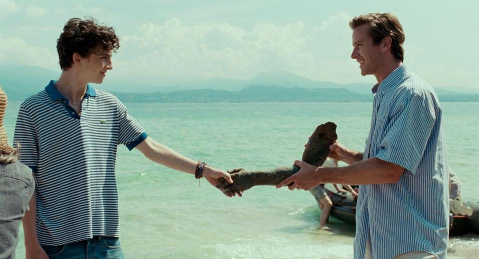 "Timothée Chalamet with Armie Hammer in ""Call Me by Your Name."""