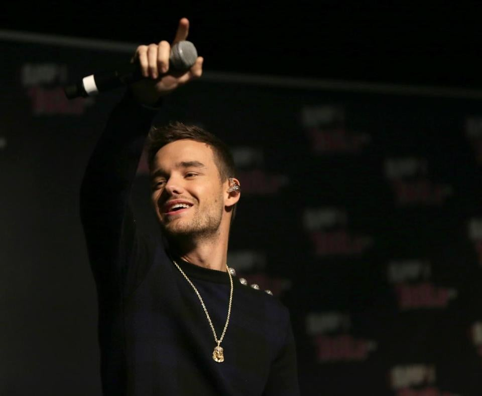Former One Direction member Liam Payne performing at Notre Dame Academy in Hingham Thursday.