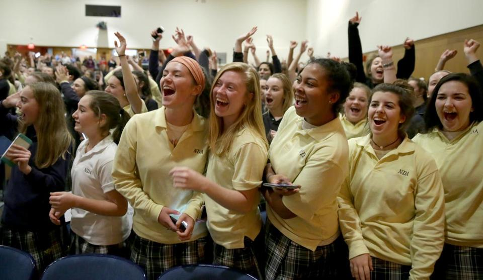 Notre Dame Academy students prior to Liam Payne's performance.