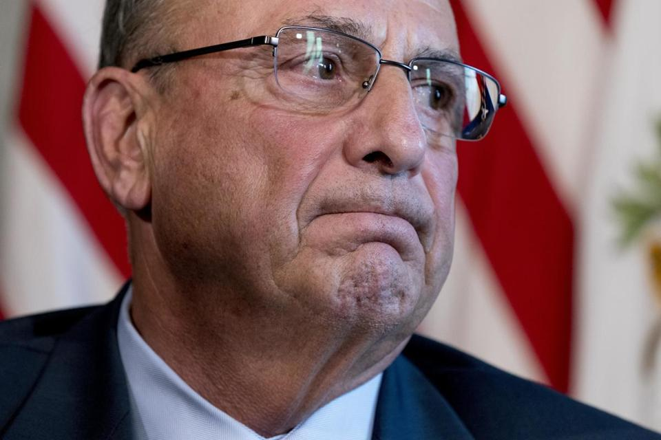 Maine Gov. Paul LePage attends a meeting with Vice President Mike Pence to discuss health care and tax reform in the Eisenhower Executive Office Building on the White House Complex, Friday, Sept. 22, 2017, in Washington. (AP Photo/Andrew Harnik)