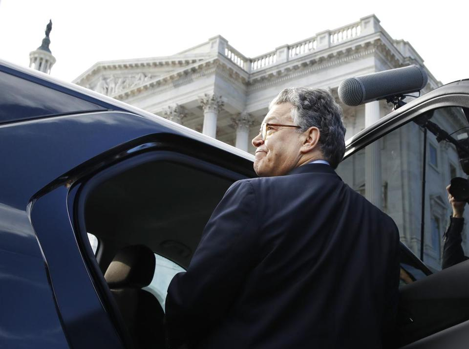 Senator Al Franken left he Capitol after speaking on the Senate floor on Thursday.
