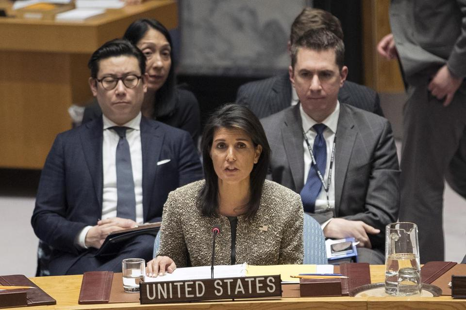 Nikki Haley, US ambassador to the United Nations, spoke during a Security Council meeting on the situation in North Korea Wednesday.
