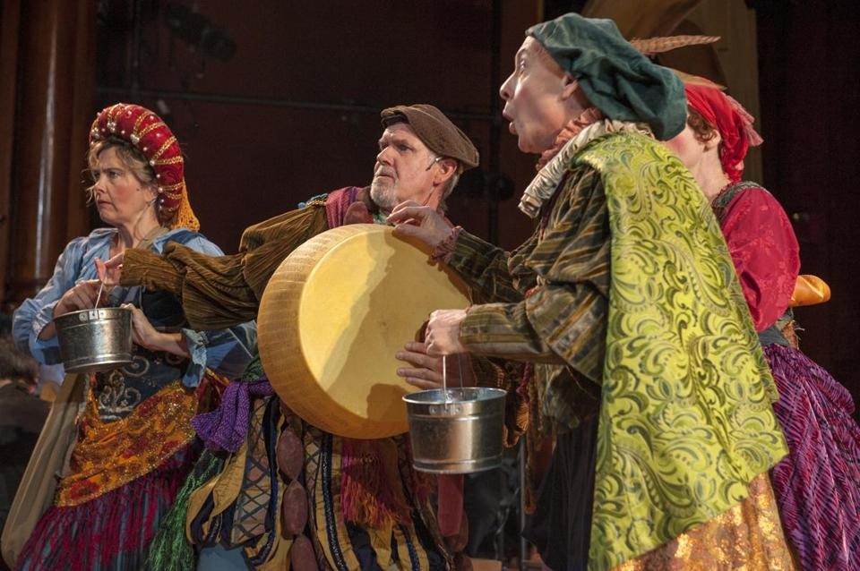 "Commedia dell'arte players Noni Lewis, Billy Meleady, and Mark Jaster in ""The Christmas Revels."""
