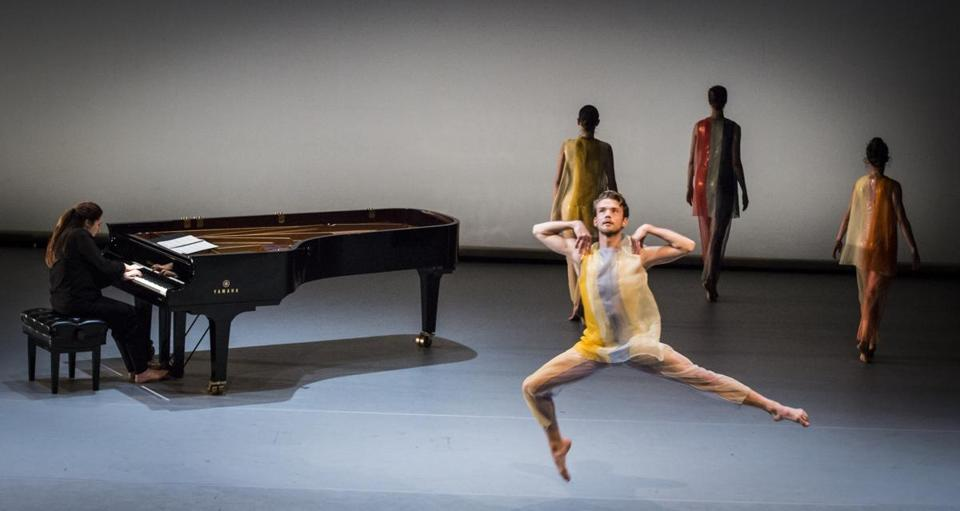 "Jason Collins dances to the piano accompaniment of Simone Dinnerstein in ""New Work for Goldberg Variations."""