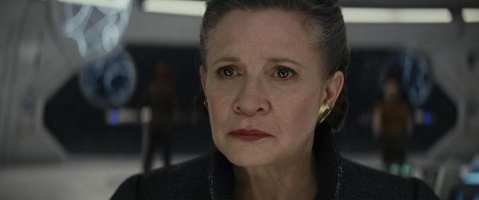 "Carrie Fisher, who died last December, makes her final appearance as Leia Organa, now a general (below), in the soon-to-be released ""Star Wars: The Last Jedi."""