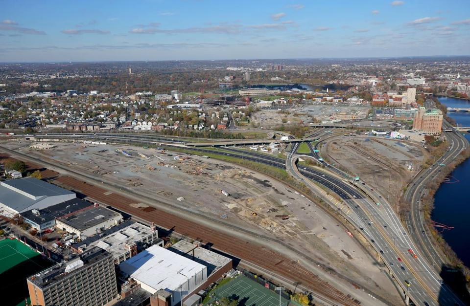 BOSTON, MA - 11/09/2017: (David L Ryan/Globe Staff ) -- BOSTON, MA - 10/28/2017: Aerial view of Mass Turnpike at Allston and former train yards (David L Ryan/Globe Staff ) SECTION: METRO TOPIC stand alone photo