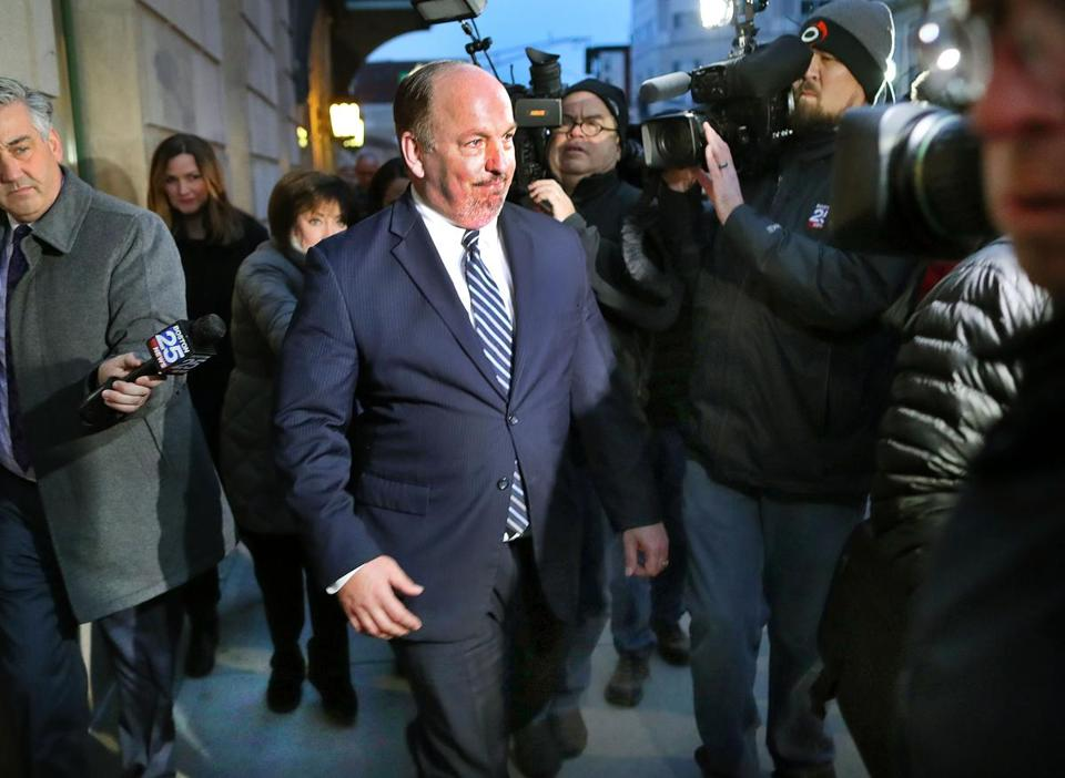 Former Massachusetts State Senator Brian Joyce leaves the federal courthouse in Worcester after he was released after posting bond.