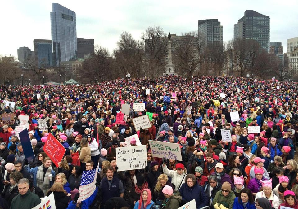 Tens of thousands filled Boston Common for the Boston Women's March for America in January.