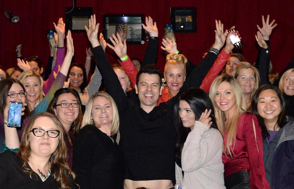 Jordan Knight with New Kids on the Block fans at Patriot Cinemas in Hingham.