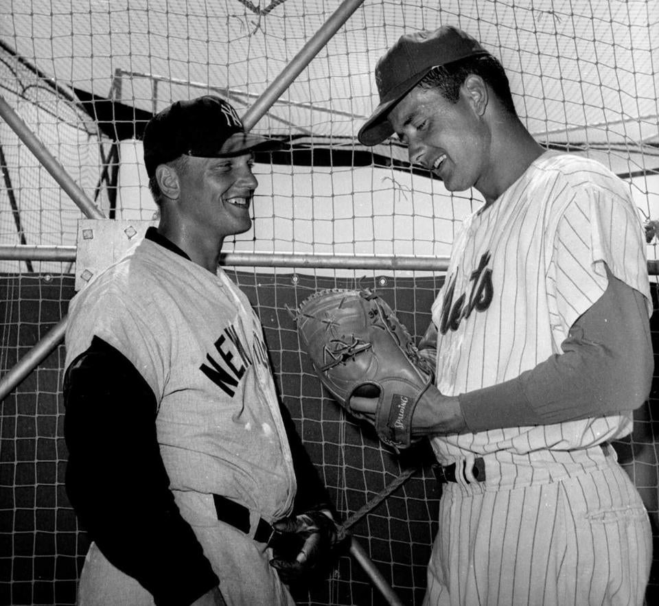 Mr. Stallard (right), a New York Met in 1963, spoke with Roger Maris at spring training. Maris hit his record-setting 61st home run off Stallard in the final game of the 1961 season.