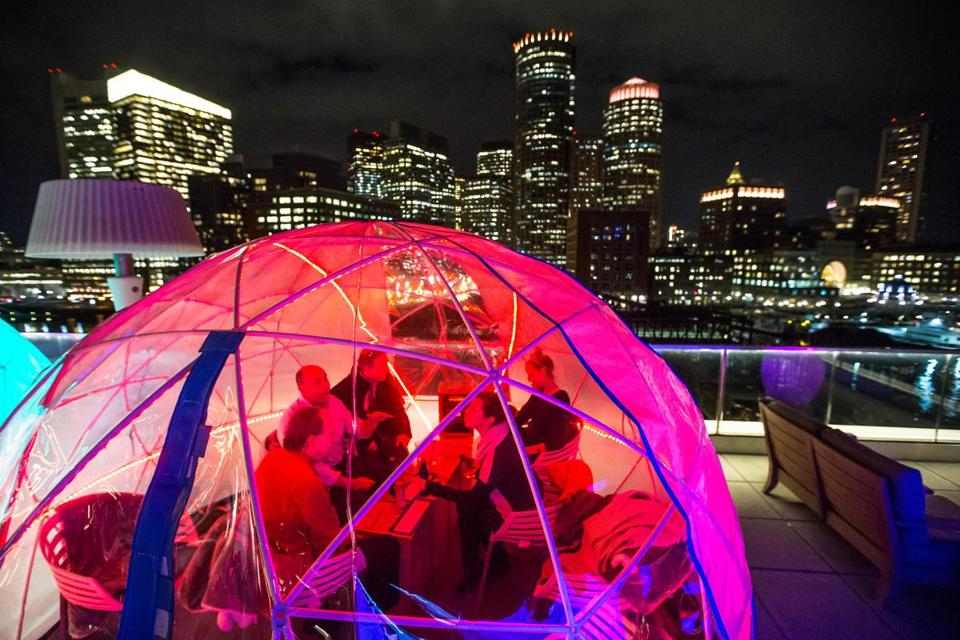 Each of the six heated igloos atop the Envoy Hotel in the Seaport seats 8-10 people, and are available on a first-come, first-served basis.
