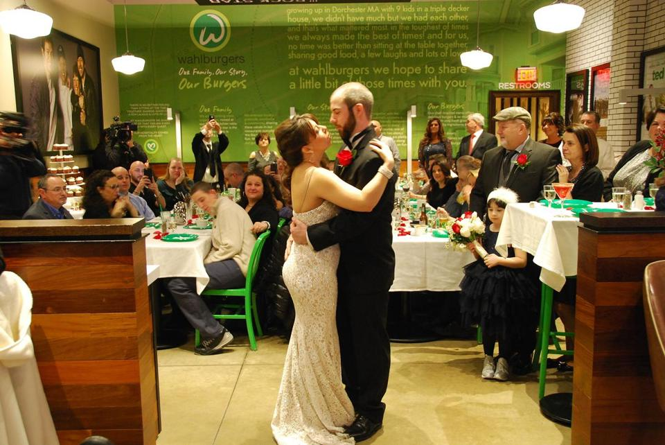 Shawn and Jessica Cicerano dance at the Lynnfield Wahlburgers during their wedding on February 6.