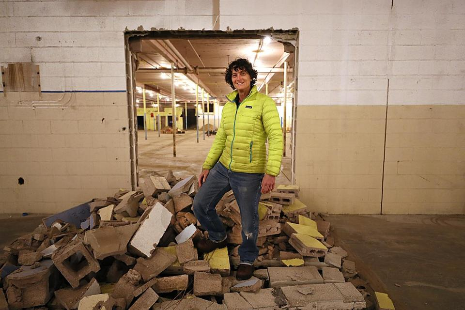 Trish Faass, co-founder of Heal Inc., at the former Central Massachusetts mill that is being converted into a medical marijuana cultivation facility.