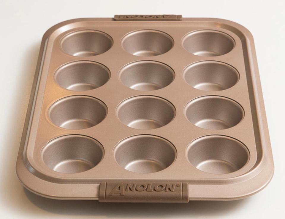 In recent years, you may have noticed bakeware with a gold-toned nonstick finish. In my experience, this medium tone produces beautifully browned baked goods, neither too dark (which is often  the case with heavily sweetened batters in very dark bakeware) nor too light (which is sometimes the case with light-toned bakeware that can reflect  some of the oven's heat).