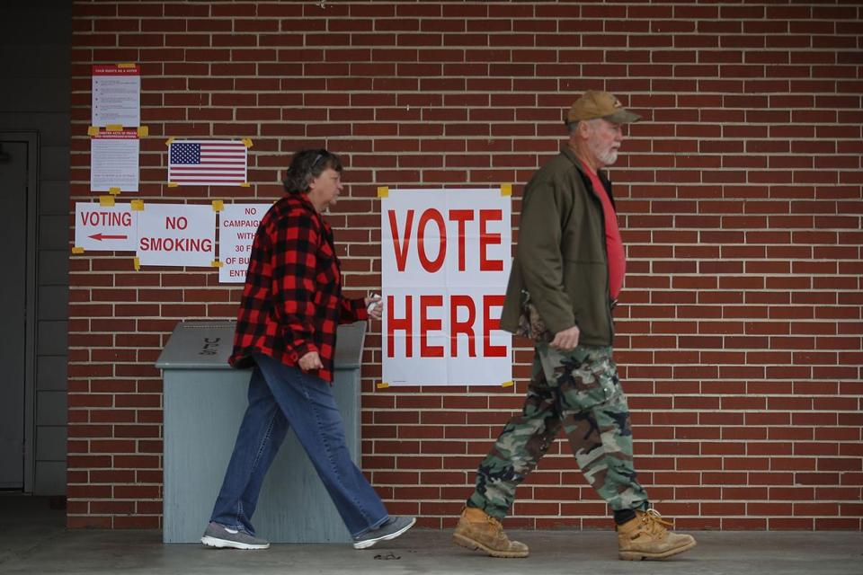 Voters exited a polling place after casting their ballots Tuesday in Gallant, Ala.