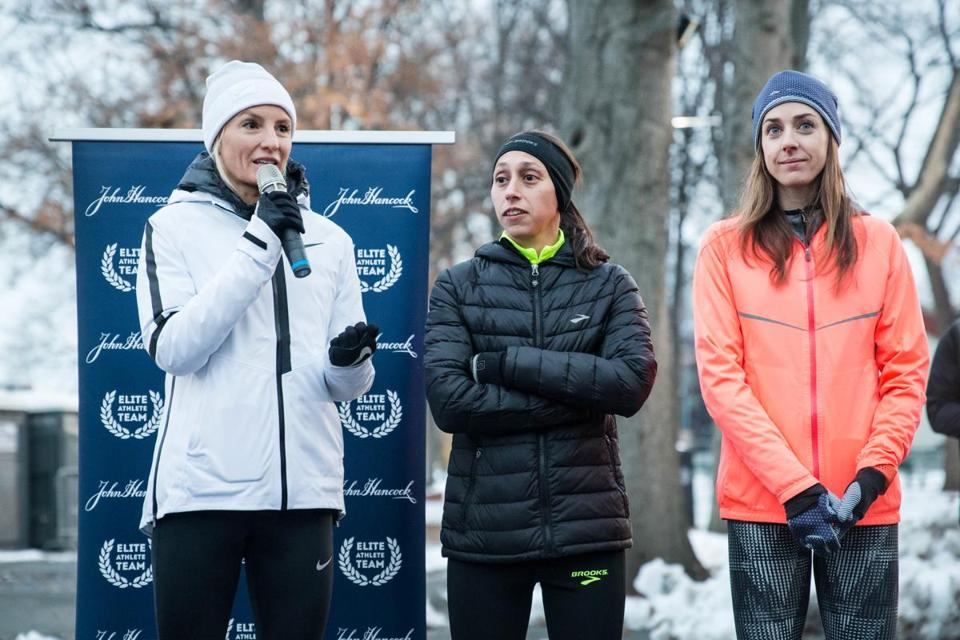 Flanagan (left) with elite American runners Desiree Linden (center), and Molly Huddle.