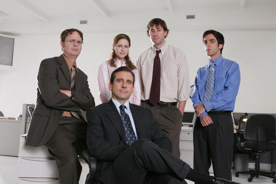 "Steve Carell (front) with (from left) Dwight Schrute, Jenna Fischer, John Krasinski, and BJ Novak, costars on ""The Office,"" which Comedy Central will begin airing with a daylong marathon on Jan. 15."