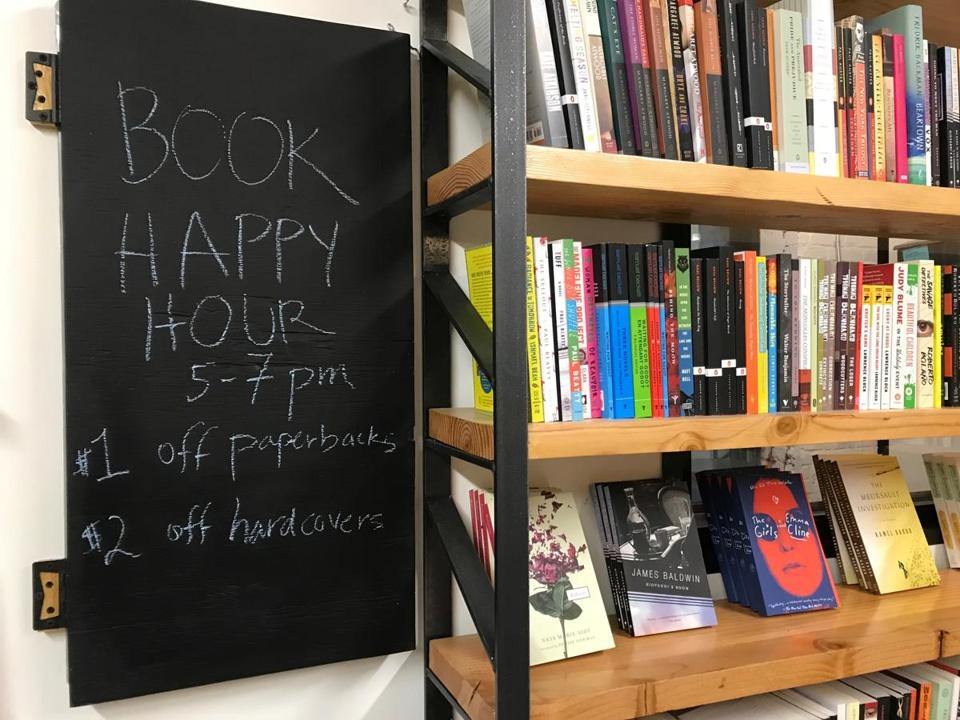Happy hour is for both books and drinks at Riffraff.