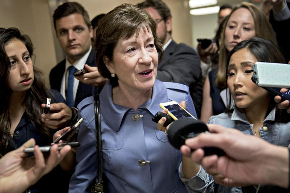 Sen. Susan Collins, R-Maine, speaks to members of the media in the basement of the Capitol in September.