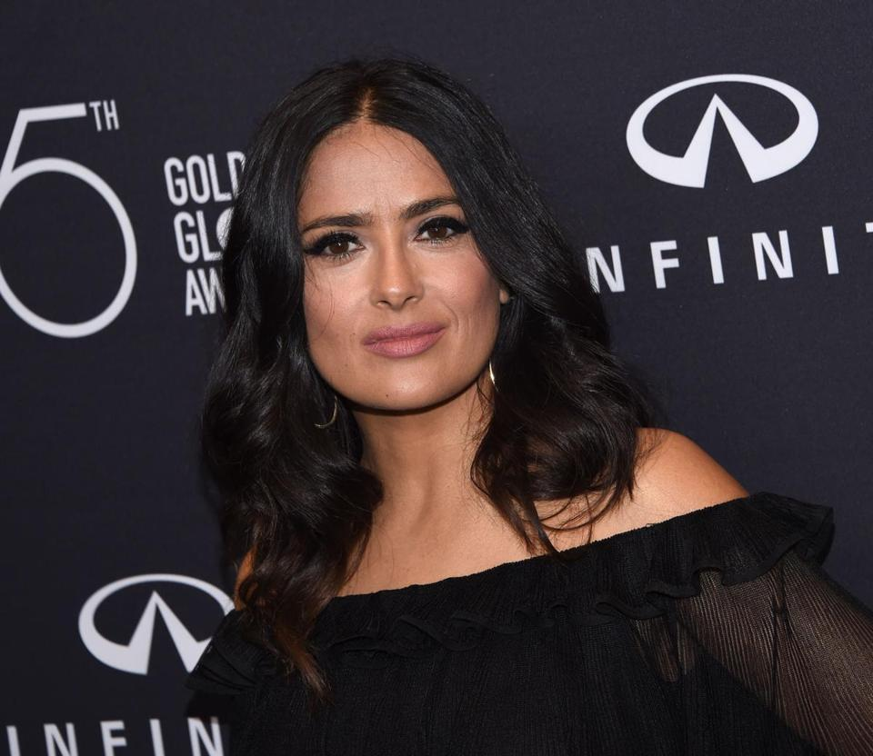 (FILES) This file photo taken on November 15, 2017 shows actress Salma Hayek attending the Hollywood Foreign Press Association (HFPA) and InStyle celebration of the 75th Annual Golden Globe Awards season at Catch LA in West Hollywood.