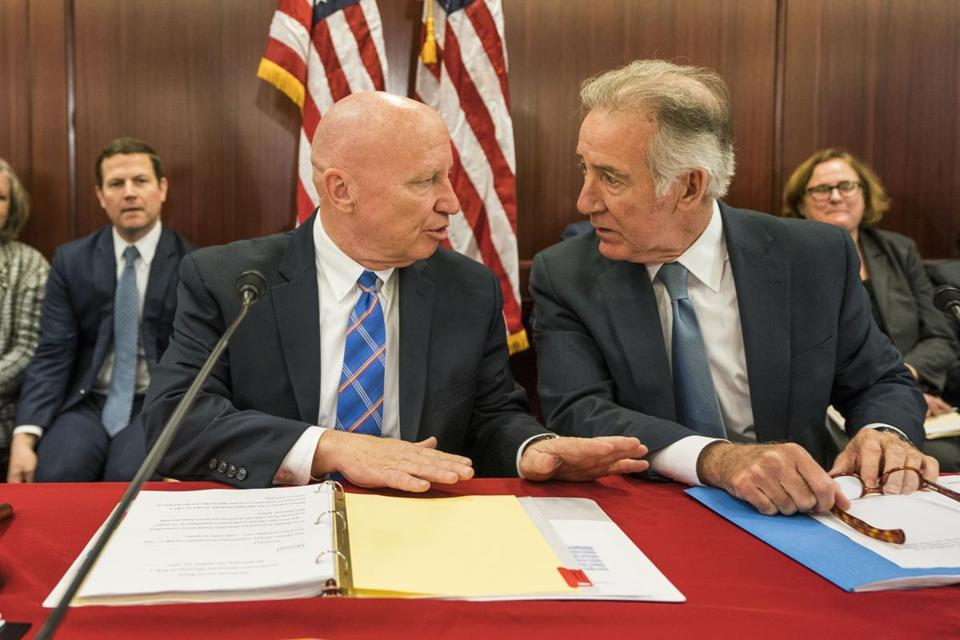 Republican Representative from Texas Kevin Brady (left) and Democratic Representative from Massachusetts Richard Neal (right) spoke during a conference committee meeting to reconcile the House and Senate tax bills in the US Capitol in Washington on Wednesday.