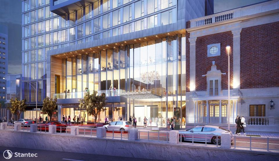 A new entrance to The Huntington Theatre in the ground floor of an apartment tower approved by the Boston Planning & Development Agency Thursday.