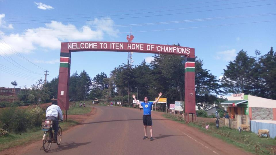 The author finishes his run and avoids traffic in Iten, Kenya.