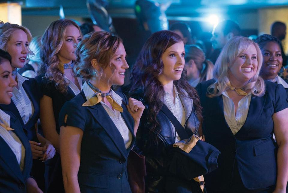 "(L to R) Flo (CHRISSIE FIT), Aubrey (ANNA CAMP), Stacie (ALEXIS KNAPP), Chloe (BRITTANY SNOW), Beca (ANNA KENDRICK), Fat Amy (REBEL WILSON) and Cynthia Rose (ESTER DEAN) in the 2017 film ""Pitch Perfect III,"" directed by Trish Sie."