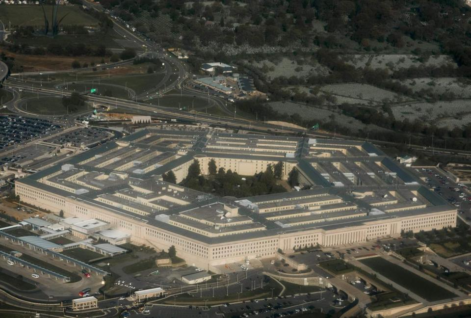 (FILES) This file photo taken on April 23, 2015 shows the Pentagon in Arlington, Virginia outside Washington, DC in this aerial photograph. The Pentagon on December 7, 2017 warned of possible weapons delays and other military ramifications if the government shuts down over a budget deal impasse or passes a stop-gap spending bill to avert it. The US government is facing the looming prospect of shutting down as Republicans and Democrats wrangle over federal spending. / AFP PHOTO / SAUL LOEBSAUL LOEB/AFP/Getty Images