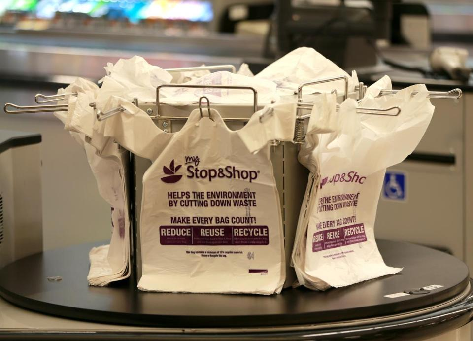 Dorchester MA 12/17/17 Plastic bags on a carousel at the Stop and Shop at the South Bay Plaza. In the fall in Bosoton (Matthew J. Lee/Globe staff) topic reporter: